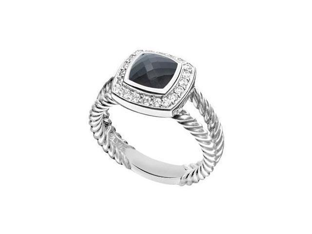 Black Onyx and Diamond Rope Ring  14K White Gold - 5.50 CT TGW