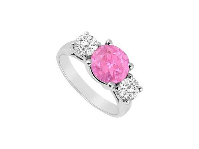 Sterling Silver Created Pink Sapphire and Cubic Zirconia Three Stone Ring 3.00 CT TGW