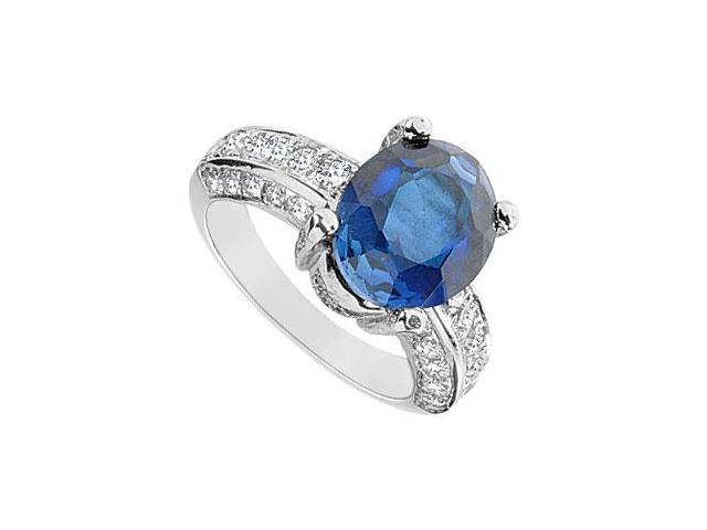 Diffuse Sapphire and Cubic Zirconia Ring 10K White Gold 6.50 Carat Total Gem Weight