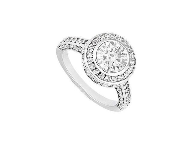 14K White Gold Engagement Ring with CZ of 1.50 Carat Total Gem Weight