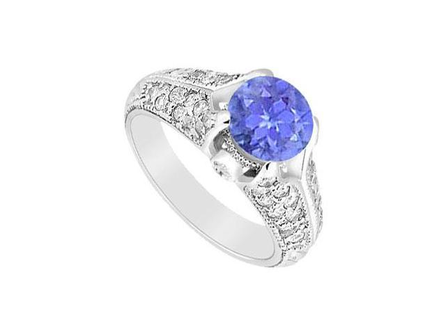 Sterling Silver Created Tanzanite and Cubic Zirconia Engagement Ring 1.00 CT TGW
