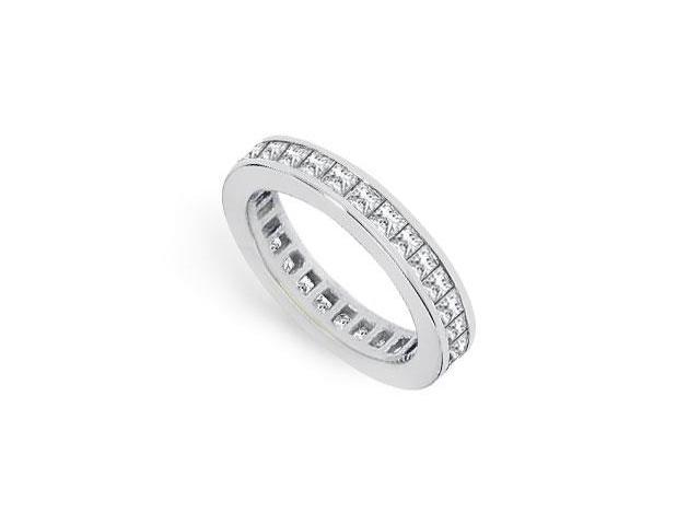 CZ Eternity Band 2 Carat Princess Cut AAA CZ Eternity Band Channel Set in 925 Sterling Silver