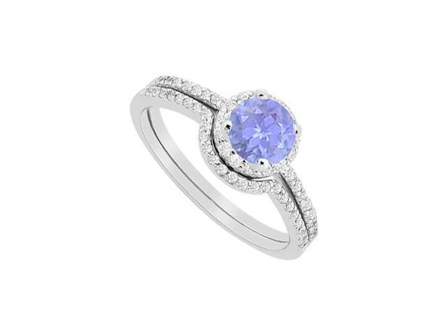 Halo Tanzanite Engagement Ring with Diamond Wedding Band Sets in White Gold 14K 1.15 Carat TGW