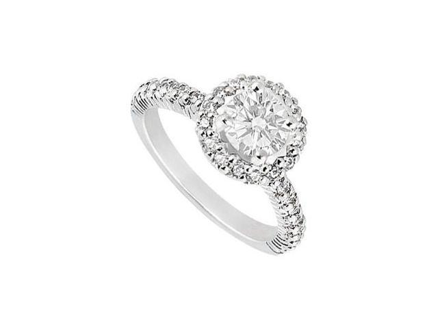 Cubic Zirconia Engagement Ring in 14K White Gold 1.25 Carat Total Gem Weight