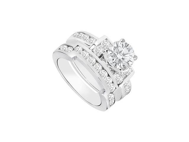 Diamond Engagement Ring with Wedding Band Sets 14K White Gold  1.20 CT TDW