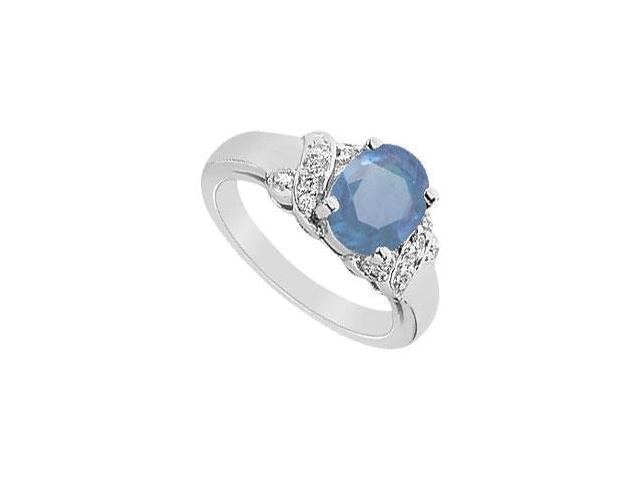 Diffuse Sapphire and Cubic Zirconia Ring 10K White Gold 2.75 Carat Total Gem Weight
