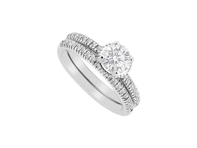 14K White Gold Diamond Engagement Ring with Wedding Band Sets of 0.75 Carat Diamonds