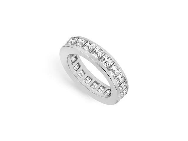 Eternity Band Three Carat Princess Cut AAA CZ Eternity Band in 925 Sterling Silver