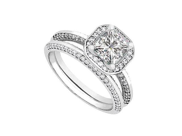 Diamond Wedding and Engagement Ring Set in 14kt White Gold 1.25.ct.tw
