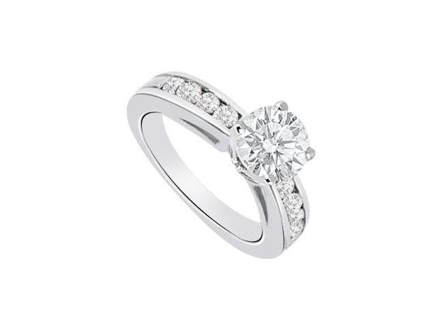 14K White Gold 1 Carat Engagement Ring with Triple AAA Quality CZ