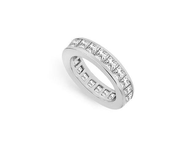 CZ Eternity Band 4 Carat Princess Cut AAA CZ Eternity Band in Sterling Silver 925