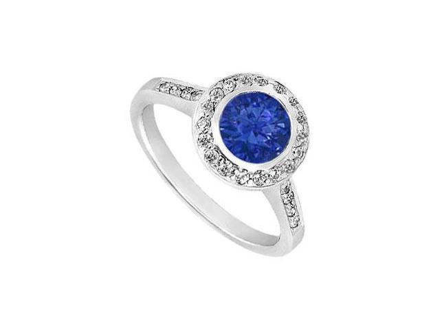 Diffuse Sapphire and Cubic Zirconia Engagement Ring 925 Sterling Silver 1.00 CT TGW