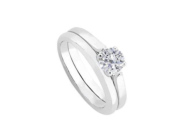 Diamond Solitaire Wedding and Engagement Ring Set in 14kt White Gold 0.50.ct.tw