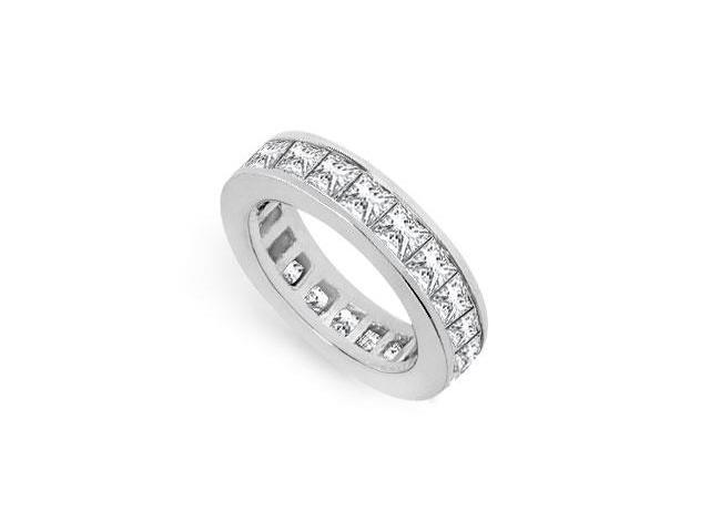 Five Carat Eternity Band Princess Cut AAA CZ Eternity Band on 925 Sterling Silver