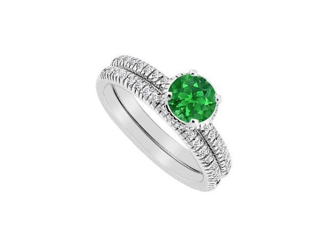 Diamond and Emerald Engagement Ring with Band Sets in 14K White Gold 1 Carat Total Gem Weight