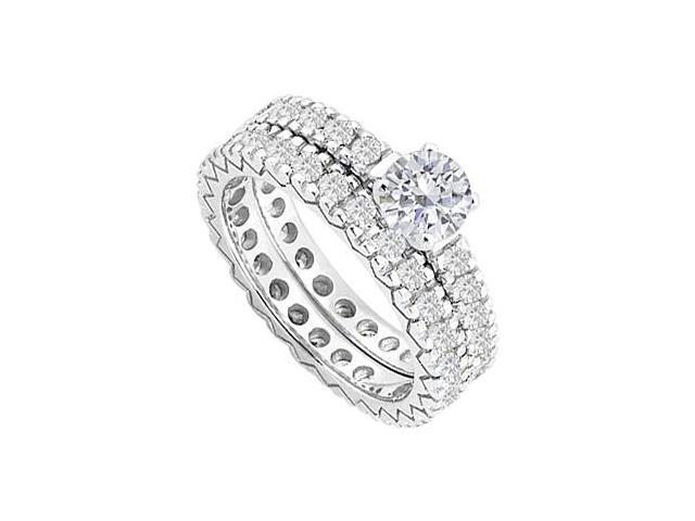 Diamond Eternity Wedding Band and Engagement Ring in 14K White Gold 1.50.ct.tw
