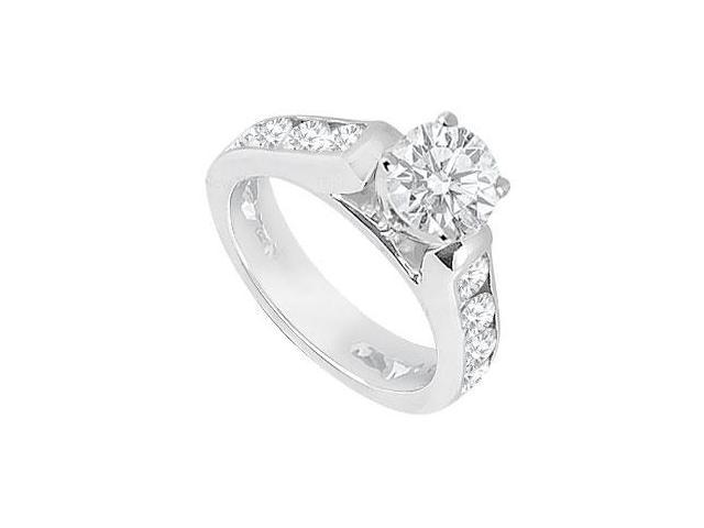 1 Carat Engagement Ring of CZ in 14K White Gold High Polished Finish