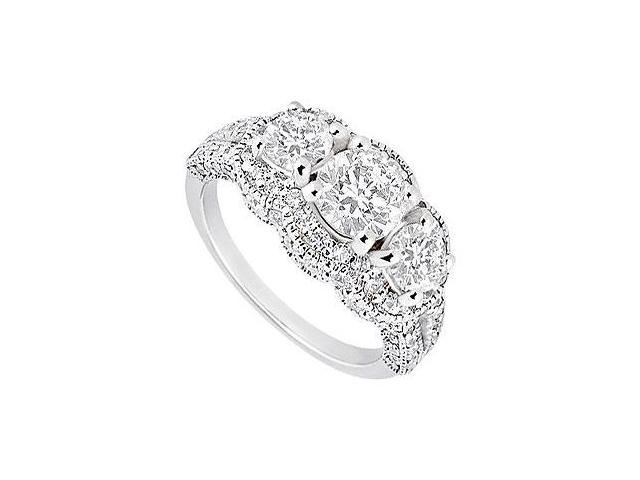 14K White Gold Triple AAA Quality Cubic Zirconia Engagement Ring of 1.75 Carat Total Gem Weight