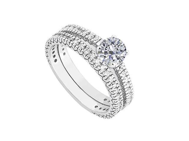 Diamond Wedding Band and Engagement Ring in 14K White Gold 1.50.ct.tw