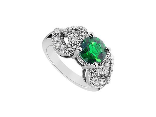 Frosted Emerald and Cubic Zirconia Ring 10K White Gold 2.55 Carat Total Gem Weight