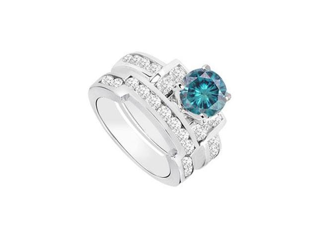 Blue  White Diamond Engagement Ring with Wedding Band Sets 14K White Gold  1.20 CT TDW