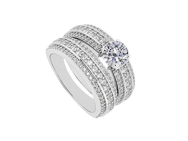 Three Row Diamond Wedding Band and Engagement Ring in 14K White Gold 2.00.ct.tw
