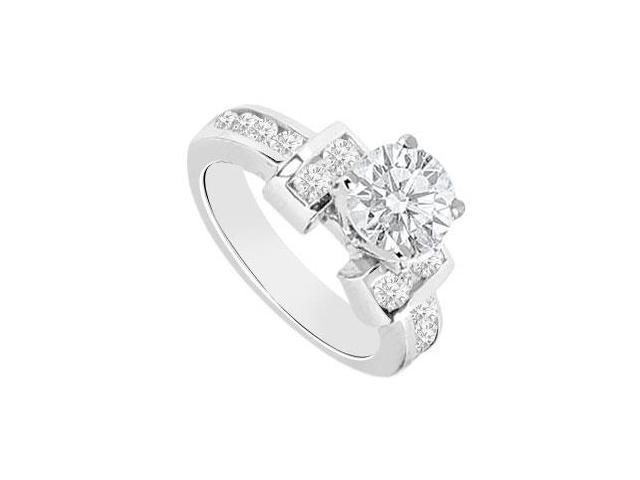 14K White Gold Triple AAA Quality Cubic Zirconia Totaling One Carat Engagement Ring