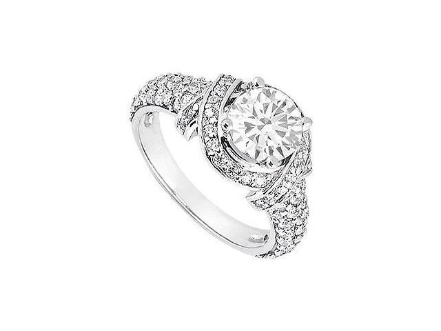 Engagement Ring with CZ Crossover Design in 14K White Gold 1.25 Carat Total Gem Weight