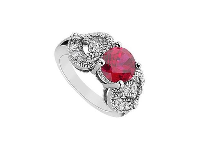 GF Bangkok Ruby and Cubic Zirconia Ring 10K White Gold  2.55 Carat Total Gem Weight