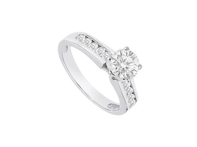 Cubic Zirconia Engagement Ring of 1 Carat Totaling CZ in 14K White Gold