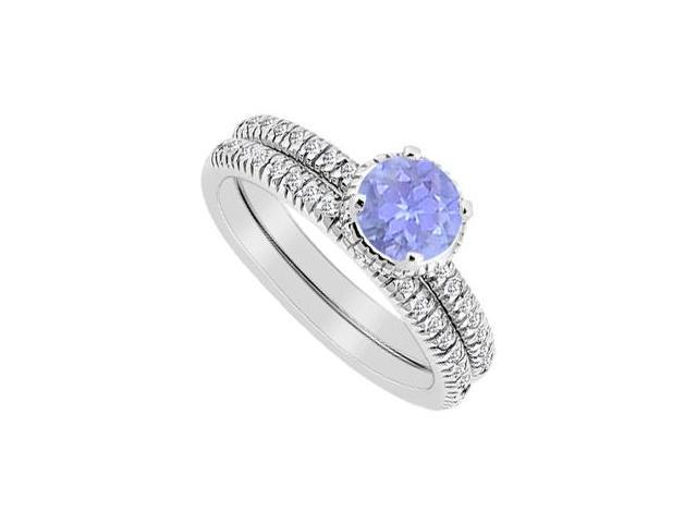 14K White Gold Tanzanite and Diamond Engagement Ring with Wedding Band Sets 1 Carat Total Weight