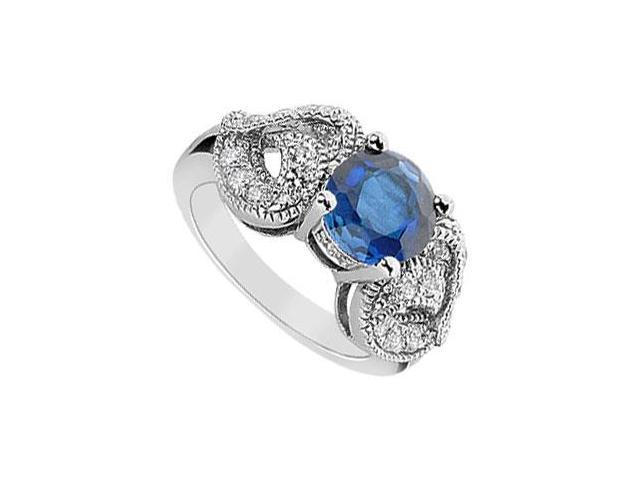 Diffuse Sapphire and Cubic Zirconia Ring 10K White Gold 2.55 Carat Total Gem Weight