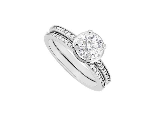 Diamond Engagement Ring with Wedding Band Sets in 14K White Gold 0.85 Carat Pave Diamonds