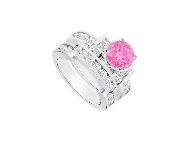 Pink Sapphire  Diamond Engagement Ring with Wedding Band Sets 14K White Gold  1.20 CT TGW