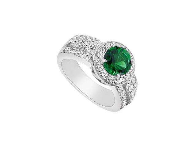 Frosted Emerald and Cubic Zirconia Ring 10K White Gold 3.00 Carat Total Gem Weight