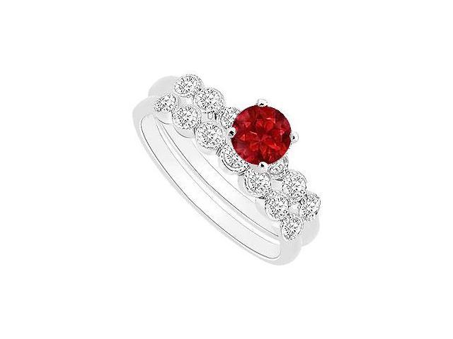 Ruby and Diamond Engagement Ring with Wedding Band Set  14K White Gold - 0.50 CT TGW
