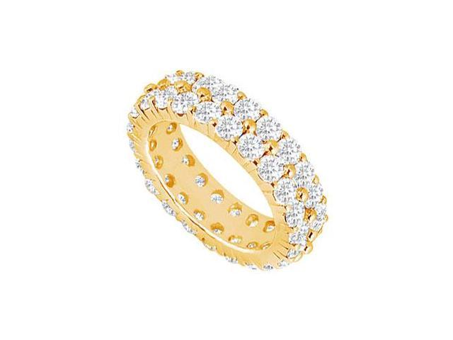 Eternity Band 5 Carat Two Row CZ Wedding Bands Prong Set on 18K Yellow Gold Vermeil