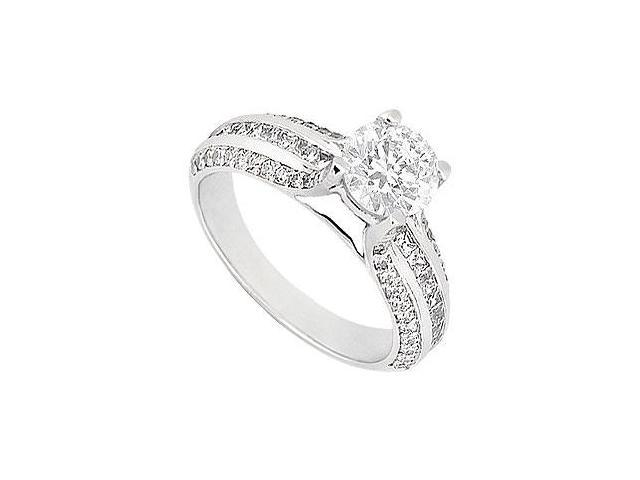 Engagement ring with Round and Princess Cut CZ Set in 14K White Gold 1.25 Carat Total Gem Weight