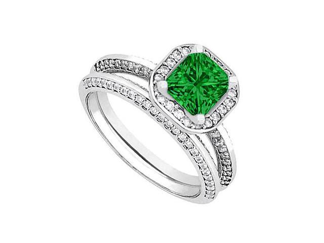Emerald  Diamond Wedding and Engagement Ring Set in 14kt White Gold 1.25.ct.tgw