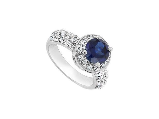 Diffuse Sapphire and Cubic Zirconia Ring 10K White Gold 3.00 Carat Total Gem Weight