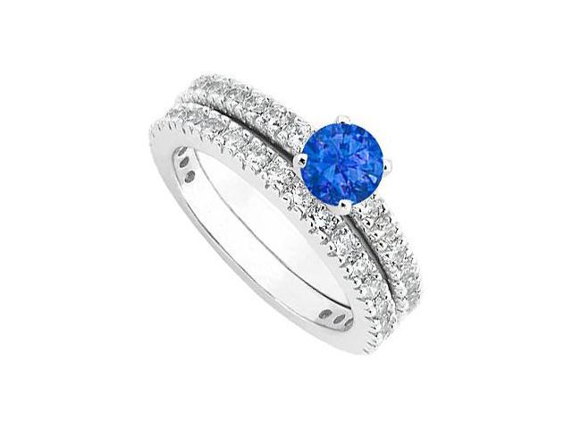Sapphire  Diamond Wedding and Engagement Ring Set in 14kt White Gold 1.50.ct.tgw