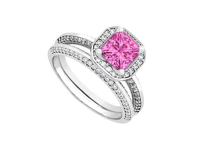 Pink Sapphire  Diamond Wedding and Engagement Ring Set in 14kt White Gold 1.25.ct.tgw