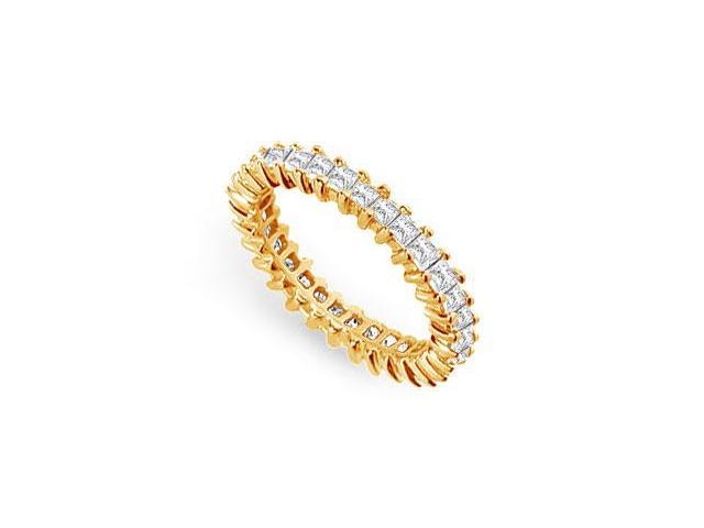 Eternity Wedding Bands 2 Carat Princess Cut AAA CZ Eternity Band on 18K Yellow Gold Vermeil