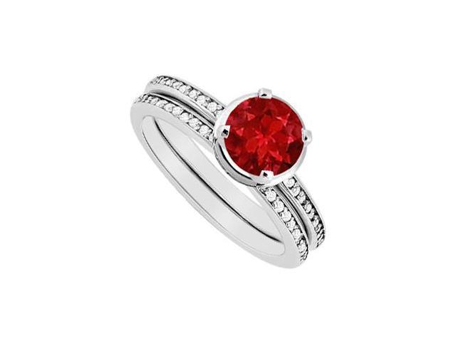 14K White Gold Engagement Ring Natural Ruby and Diamond Wedding Band Sets 1.10 Carat TGW