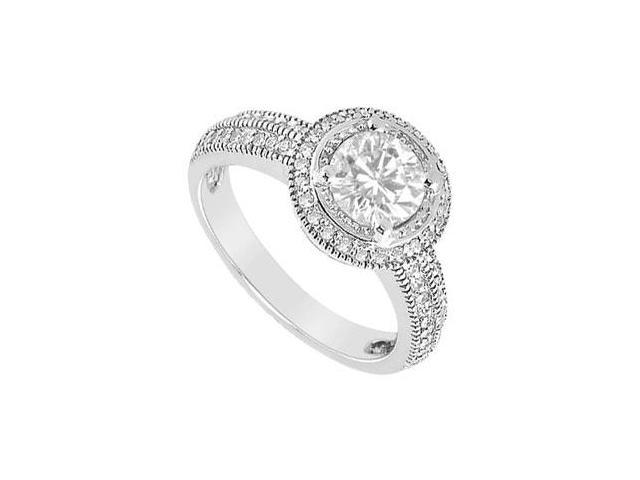 Halo Engagement Ring in 14K White Gold CZ of 0.75 Carat Total Gem Weight