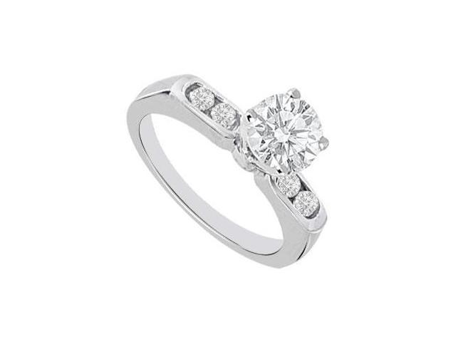 14K White Gold Engagement Ring with CZ 1.25 Carat Total Gem Weight