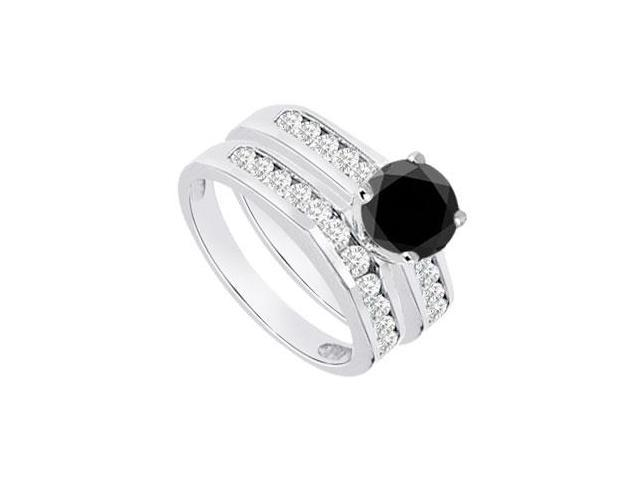 Black  White Diamond Engagement Ring with Wedding Band Sets 14K White Gold  1.15 CT TDW