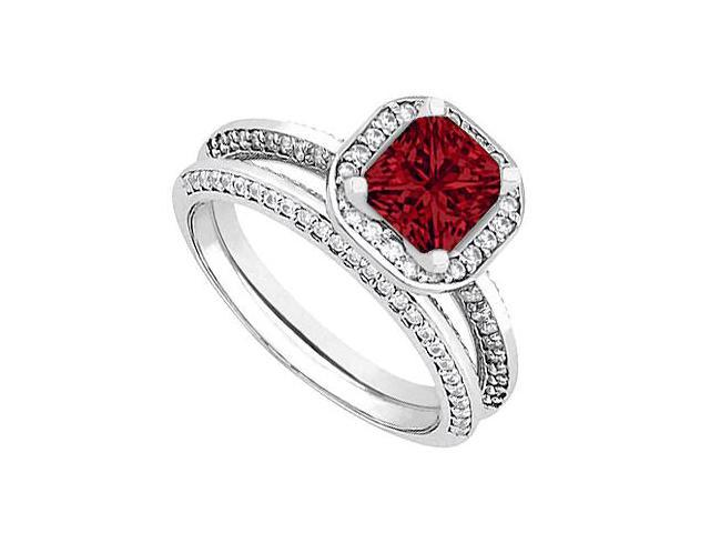 Ruby  Diamond Wedding and Engagement Ring Set in 14kt White Gold 1.25.ct.tgw