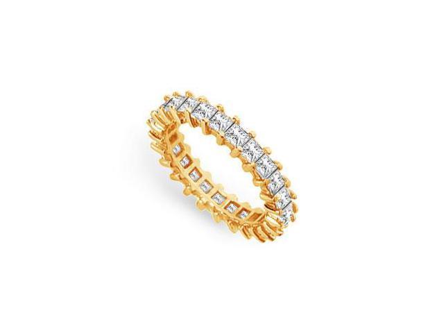 Eternity Wedding Bands Princess Cut AAA CZ Eternity Band on 18K Yellow Gold Vermeil 3CT. TGW