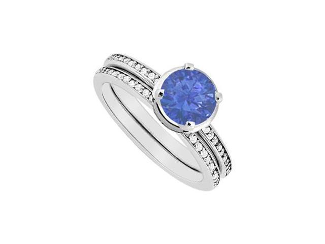 Diamond and Natural Sapphire Engagement Ring with Wedding Band Set in 14K White Gold 1.10 CT TGW